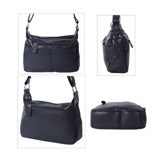 100% Genuine Leather Crossbody Bag with Multiple Pockets and Zipper Closure (Size 28x9x19 Cm) - Navy Blue