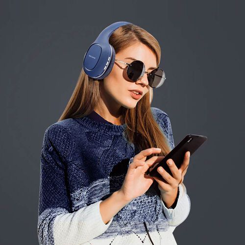 WESDAR: Wireless & Bluetooth Headphones with Rechargeable 500 mAh Battery - Blue