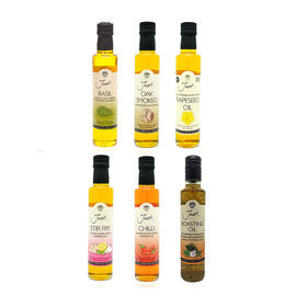 Just Rapeseed Oil 6x250 ml (1 x Rapeseed, 1 x Roasting, 1 x Chilli, 1 x Oak-smoked, 1 x Basil, 1 x S