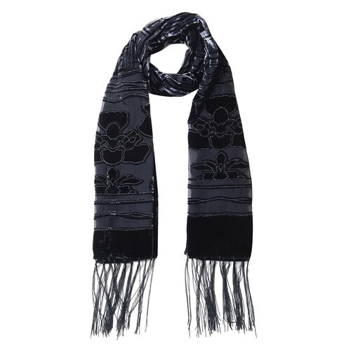 Black and Dark Grey Colour Flower and Square Pattern Scarf (Size 155x50 Cm)