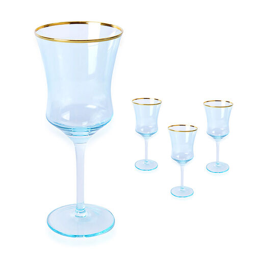 Set of 4 - Wine Glasses in Light Blue with Gold Rim