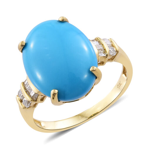 9K Y Gold AAA Arizona Sleeping Beauty Turquoise (Ovl 6.55 Ct), Diamond Ring 6.750 Ct.