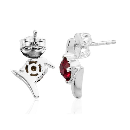 J Francis Crystal from Swarovski Ruby Colour Crystal Earrings in Sterling Silver