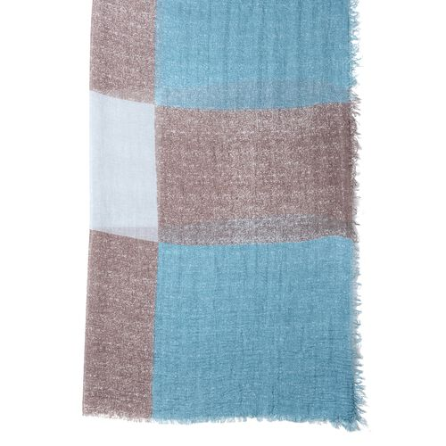 Sea Blue, White and Brown Colour Chequer Pattern Scarf (Size 180x90 Cm)