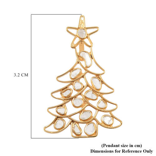 Artisan Crafted Polki Diamond Christmas Tree Pendant in Yellow Gold Overlay Sterling Silver - 1.43 Ct.