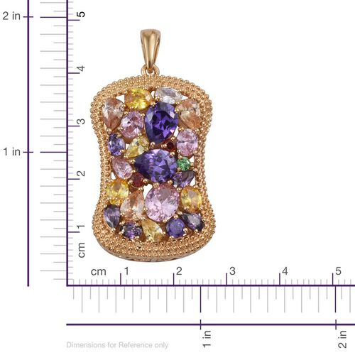 AAA Simulated Pink Sapphire (Ovl), Simulated Tanzanite, Simulated Amethyst, Simulated Citrine, Simulated Emerald, Simulated Garnet and Multi Gem Stone Pendant in ION Plated 18K Yellow Gold Bond