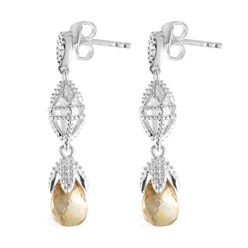 Citrine Earrrings (with Push Back) in Sterling Silver 4.000 Ct. Silver wt 3.09 Gms.