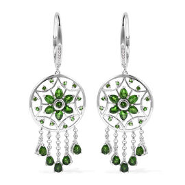 LucyQ Russian Diopside Dream Catcher Drop Earrings in Rhodium Plated Sterling Silver 10.05 Grams