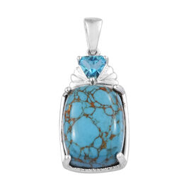 10.5 Ct Blue Turquoise and Pariaba Topaz Solitaire Pendant in Sterling Silver