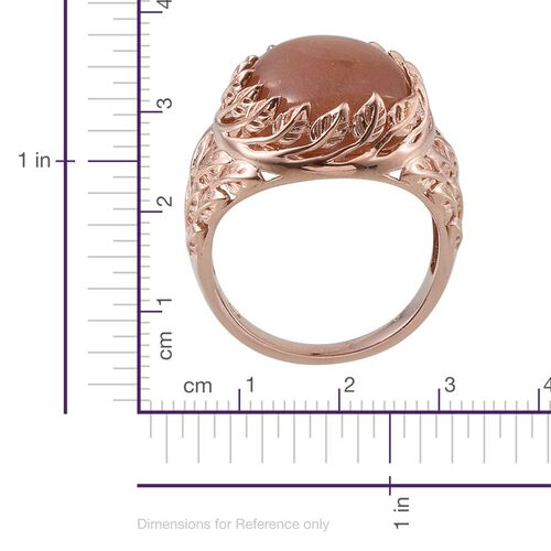 Morogoro Peach Sunstone (Ovl) Ring in Rose Gold Overlay Sterling Silver 16.750 Ct.