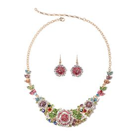 2 Piece Set - Multi Colour Austrian Crystal Necklace (Size 20 with 4 inch Extender) and Hook Earring