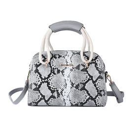 LOCK SOUL Snake Pattern Convertible Bag with Shoulder Strap (Size 26x23x15Cm) - Black and White