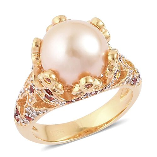 Very Rare South Sea Golden Pearl (Rnd 11.5-12mm), Mozambique Garnet and White Zircon Ring in Yellow Gold Overlay Sterling Silver
