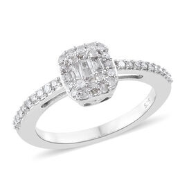 Diamond (Rnd and Bgt) Cluster Ring in Platinum Overlay Sterling Silver