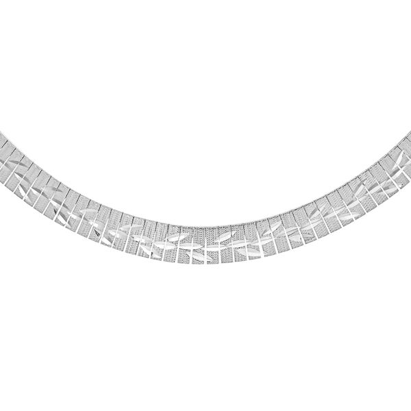 JCK Vegas Collection Leaves Pattern Cleopatra Necklace in Sterling Silver Size 17 Inch