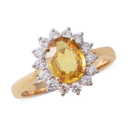 ILIANA 18K Yellow Gold AAA Yellow Sapphire (Ovl) Diamond (SI/G-H) Ring 2.660 Ct.
