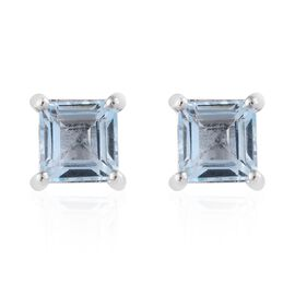Sky Blue Topaz (Sqr) Stud Earrings (with Push Back) in Platinum Overlay Sterling Silver 1.500 Ct.