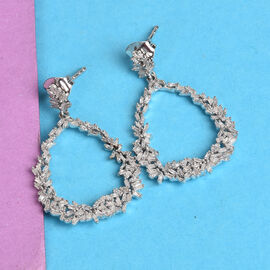 GP - Natural Diamond and Blue Sapphire Drop Earrings (with Push Back) in Platinum Overlay Sterling Silver 1.02 Ct.