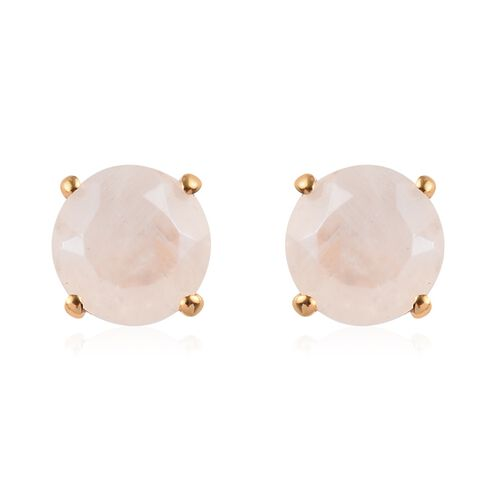 2.75 Ct Rainbow Moonstone Solitaire Stud Earrings in 14K Gold Plated Sterling Silver