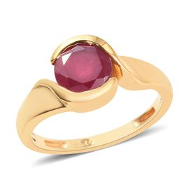 African Ruby (Rnd) Solitaire Ring in 14K Gold Overlay Sterling Silver 1.50 Ct.