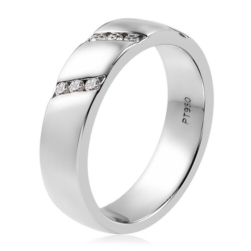 RHAPSODY 950 Platinum IGI Certified Diamond (Rnd) (VS/E-F) Band Ring 0.18 Ct, Platinum wt 8.30 Gms
