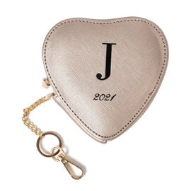 100% Genuine Leather J Initial Heart Shape Coin Card / Purse with Key Chain in Gold Colour (Size 12x