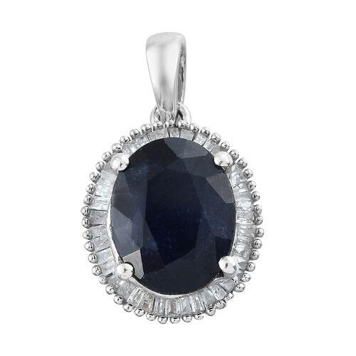 Premium Collection - Designer Inspired Rare Size Masoala Sapphire (Ovl 11x9 mm), Diamond Pendant in