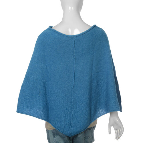 80% Wool Blue Colour Poncho (Size-24, 57x118cm) Extra Large
