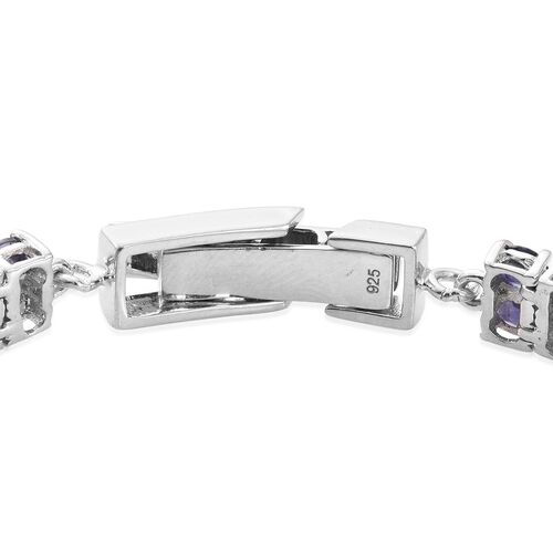 Natural Catalina Iolite (Ovl) Bracelet (Size 7.5) in Platinum Overlay Sterling Silver 12.250 Ct.