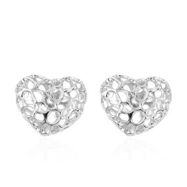 RACHEL GALLEY Lattice Heart Stud Earrings in Rhodium Plated Sterling Silver