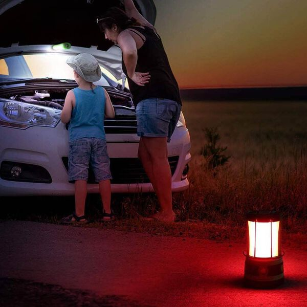 3 in 1 Flame Lantern with white LED Light, Flame Light and Flashlight (3xAA Battery Not Included) (Size 9x14.5 Cm) - Red