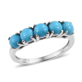 SLEEPING BEAUTY TURQUOISE (2.00 Ct) Platinum Overlay Sterling Silver Ring  1.500  Ct.