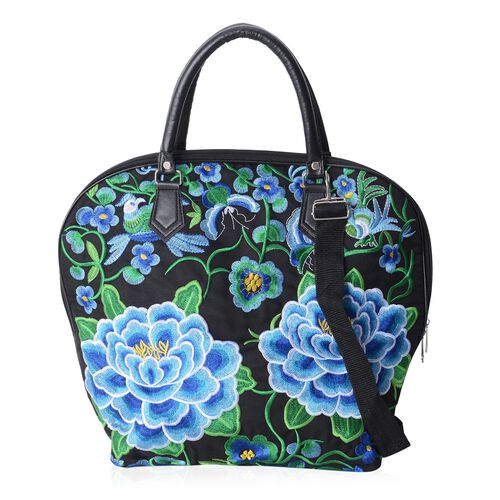 Shanghai Collection Black Colour with Blue Floral Pattern Tote Bag with Adjustable Shoulder Strap (43X29x15x37 Cm)
