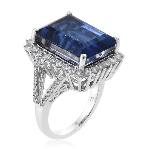 Ceylon Colour Quartz (Oct 13.80 Ct), Natural White Cambodian Zircon Ring in Platinum Overlay Sterling Silver 15.000 Ct, Silver wt 5.13 Gms