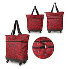 Flat Pack Cabin Sized Trolley Bag with Zipped Hood Pocket - Burgundy and Multi Colour