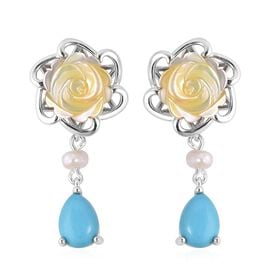 Yellow Mother of Pearl and Sleeping Beauty Turquoise Drop Earrings in Sterling Silver 4.8 Grams