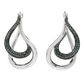 Blue diamond Drop Earrings in Sterling Silver 8.16 Grams With Push Back