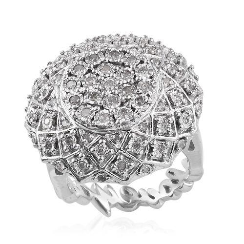 GP Diamond (Rnd), Kanchanaburi Blue Sapphire Ring in Platinum Overlay Sterling Silver  0.520 Ct, Sil