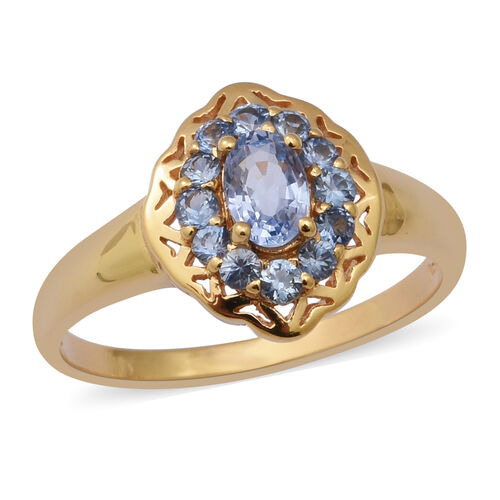 Royal Ceylon Sapphire Ring in Yellow Gold Overlay Sterling Silver 1.10 Ct.