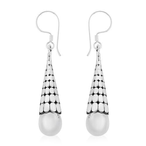 Royal Bali Collection Sterling Silver Drop Hoop Earrings, Silver wt 7.90 Gms.
