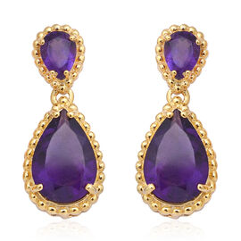 Zambian Amethyst (Pear) Earrings (with Push Back) in Yellow Gold Overlay Sterling Silver 8.03 Ct.