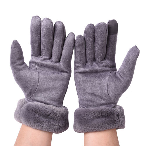 Solid Grey Gloves with Embossed Lines and Faux Fur Trim (Size XS-M)