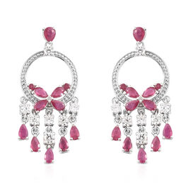 African Ruby (Pear), Natural White Cambodian Zircon Chandlier Earrings (with Push Back) in Platinum Overlay Sterling Silver 8.500 Ct, Silver wt 9.82 Gms.