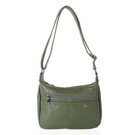 100% Genuine Leather Olive Colour Crossbody Bag with Multi Pockets and Adjustable Shoulder Strap (Si