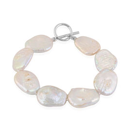 White Baroque Pearl Bracelet (Size 7.5) in Rhodium Overlay Sterling Silver