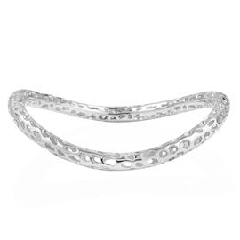 RACHEL GALLEY Rhodium Overlay Sterling Silver Curved Swirl Bangle (Size 7.5), Silver wt 17.31 Gms.