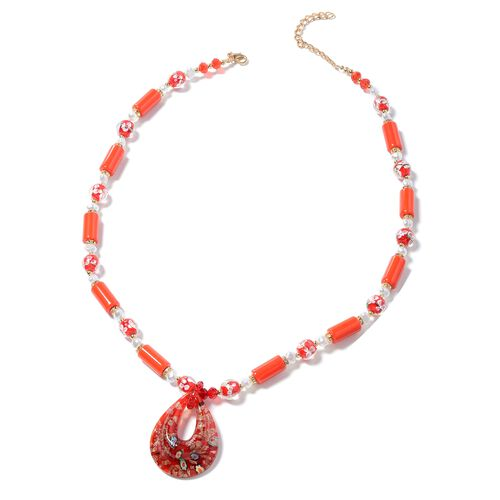 Murano Style Glass (Pear), Ceramic, Fresh Water White Pearl, Simulated Ruby, White Austrian Crystal and Multi Colour Beads Necklace (Size 26 with 3 inch Extender) in Yellow Bond