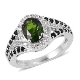 2.10 Ct Russian Diopside, Boi Ploi Black Spinel and Zircon Halo Ring in Rhodium Plated Silver