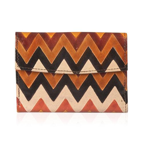 Designer Inspired-100% Genuine Leather RFID Blocker Vintage Zig-Zag Pattern Ladies Wallet (Size 14x10x1.5 Cm)