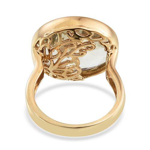 GP ROSE CUT Green Amethyst (Rnd 12.75 Ct), Kanchanaburi Blue Sapphire Ring in 14K Gold Overlay Sterling Silver 12.800 Ct.